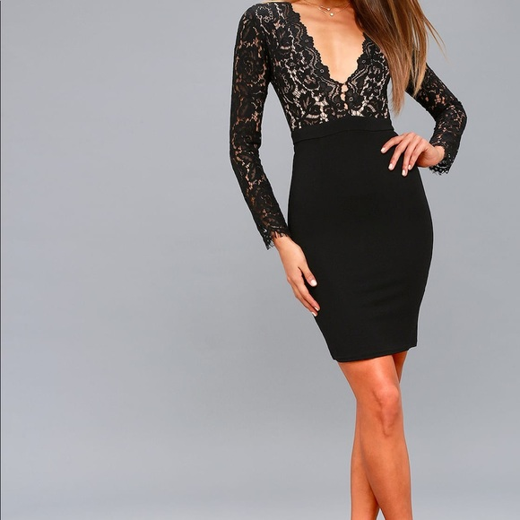 6a7c2d5ea128 Lulu s Dresses   Skirts - Swoon-er or Later Black Long Sleeve Lace Dress